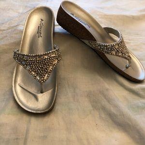 NWOT A.Giannetti Women's silver beaded flip flop